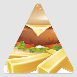 Burger and chips or french fries stickers