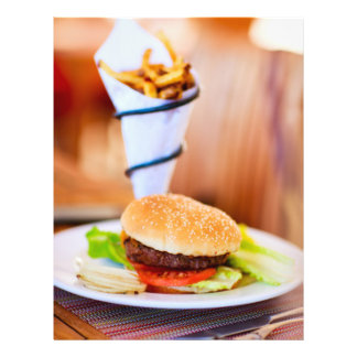 Burger and french fries 21.5 cm x 28 cm flyer