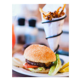 Burger and french fries flyer