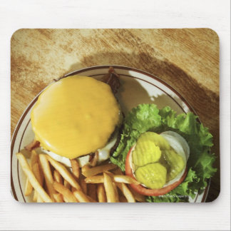 Burger and french fries mouse mat