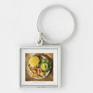 Burger and french fries Silver-Colored square key ring