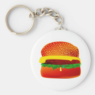 Burger Basic Round Button Key Ring