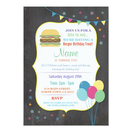 Burger Birthday Invitations Kid's Party Chalk Fun