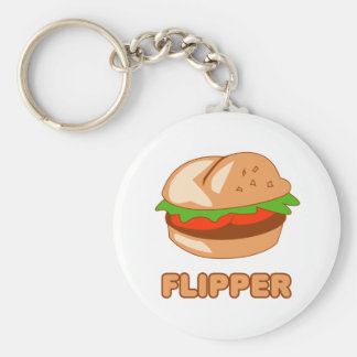 Burger Flipper Basic Round Button Key Ring