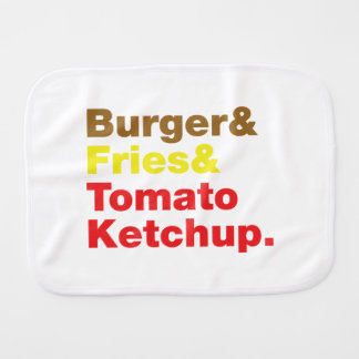 Burger & Fries & Tomato Ketchup. Burp Cloth