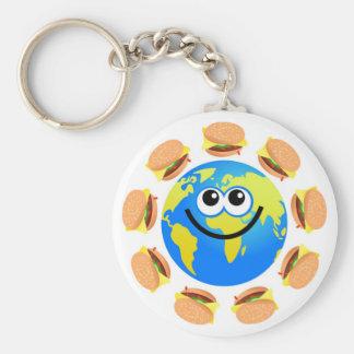 Burger Globe Basic Round Button Key Ring