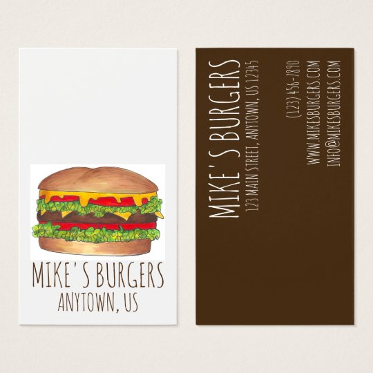 Burger Hamburger Cheeseburger Fast Food Chef Business Card