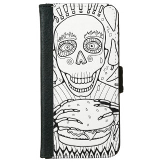 Burger Line Art Design iPhone 6 Wallet Case