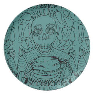 Burger Line Art Design Plate