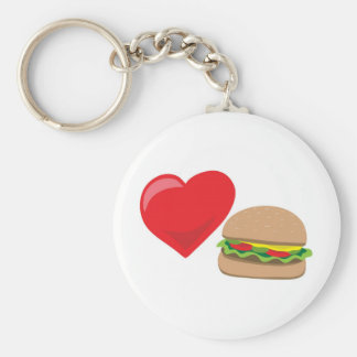 Burger Love!  Customizable: Basic Round Button Key Ring