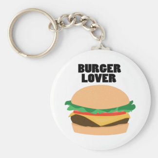 Burger Lover Basic Round Button Key Ring