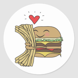 Burger Loves Fries Round Sticker