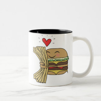 Burger Loves Fries Two-Tone Coffee Mug