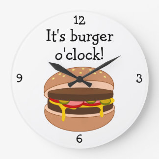 Burger O'Clock fun food graphic Large Clock