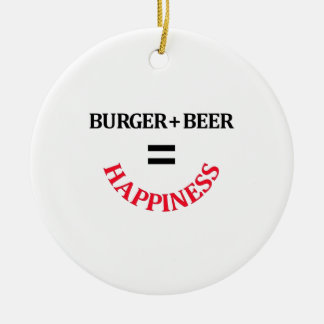 Burger Plus Beer Equals Happiness Christmas Ornament