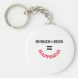 Burger Plus Beer Equals Happiness Key Chain