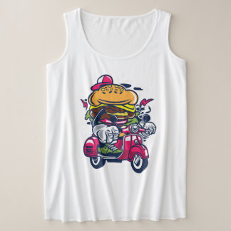 Burger Scooter Women's Plus-Size Tank Top