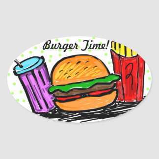 Burger Time French Fries Soda Oval Sticker