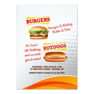 Burgers and Hotdogs Invitation