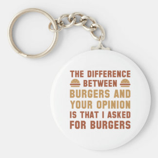 Burgers And Your Opinion Basic Round Button Key Ring