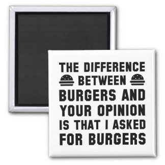 Burgers And Your Opinion Square Magnet