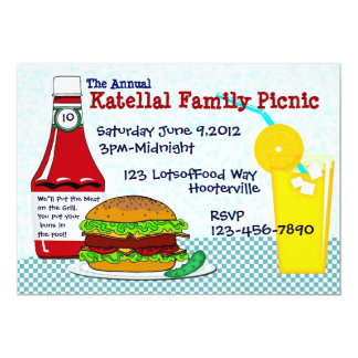 Burgers & Lemonade Picnic  Invitation