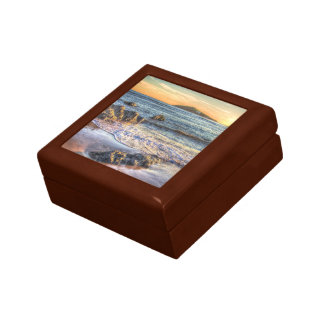 Burgh Island from Bantham at Sundown... Small Square Gift Box