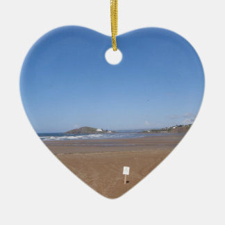 Burgh Island View From Bantham Beach Ceramic Heart Decoration