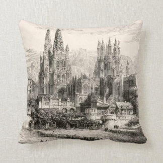 Burgos Cathedral Spain Castle Gothic Spire Vintage Cushion