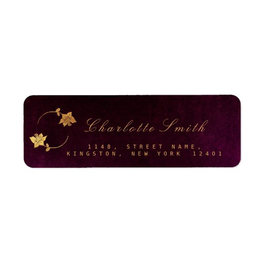 Burgunde Plum Golden Foil Return Address Labels