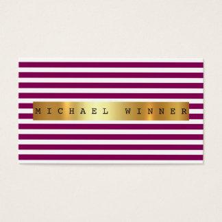 Burgunde Plum White Stripes Vip Golden Foil Business Card