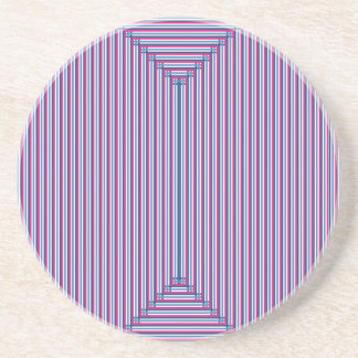 Burgundy and Blue Woven Beverage Coaster