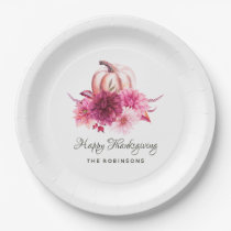 Burgundy and Blush Floral Thanksgiving Party Paper Plate