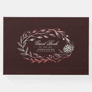Burgundy and Blush Floral Wreath Wedding Guest Book
