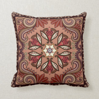 Burgundy and Brown Paisley Pattern Cushion