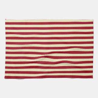 Burgundy and Cream Stripes Towels