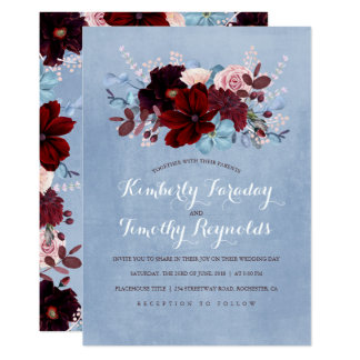 Burgundy and Dusty Blue Floral Elegant Wedding Card