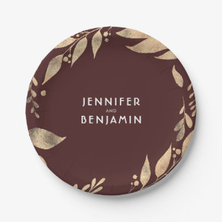 Burgundy and Gold Fall Leaves Chic Wedding Paper Plate