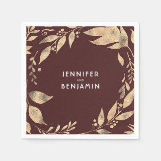 Burgundy and Gold Fall Leaves Elegant Wedding Disposable Serviettes