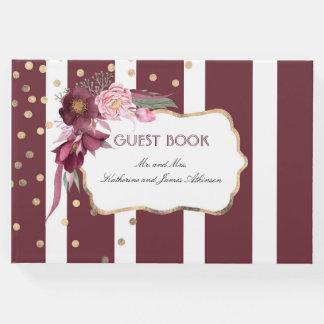 Burgundy and Gold Floral Elegant Wedding Guest Book