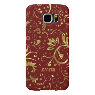 Burgundy And Gold Floral Fabric Pattern Samsung Galaxy S6 Cases