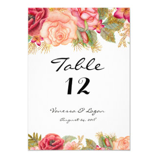 Burgundy and gold floral Table Number Card