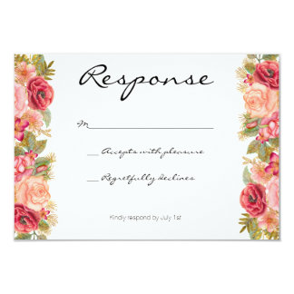 Burgundy and gold floral wedding invitation RSVP