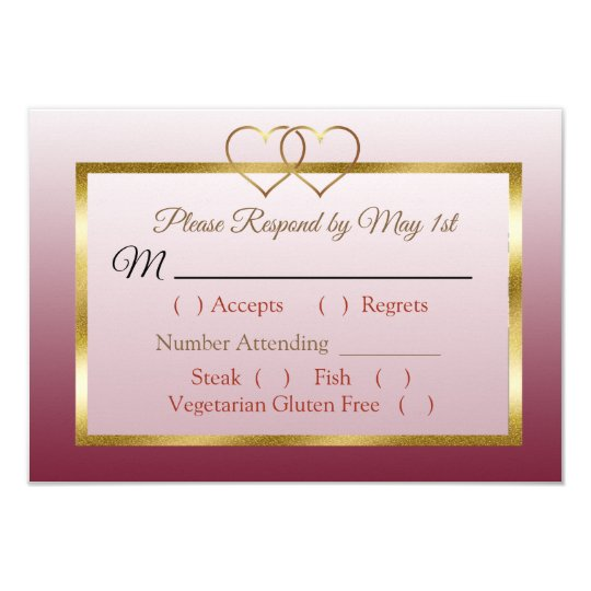 Burgundy and Gold Gradient Wedding RSVP card