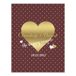Burgundy And Gold Heart Polka Dot Wedding Flyer