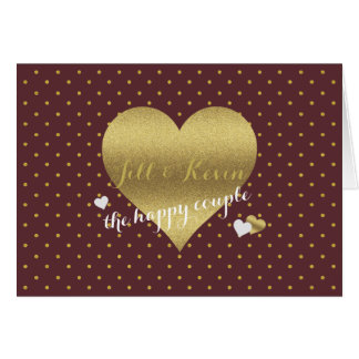 Burgundy And Gold Heart Polka Dots Party Note Card