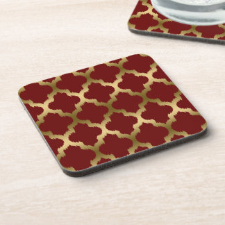Burgundy And Gold Ikat Quatrefoil Pattern Drink Coasters