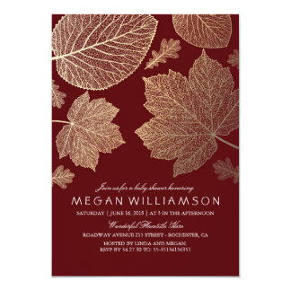 Burgundy and Gold Leaves Fall Baby Shower Card