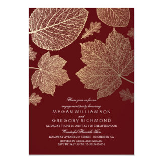 Burgundy and Gold Leaves Fall Engagement Party 13 Cm X 18 Cm Invitation Card