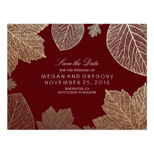burgundy and gold leaves fall save the date